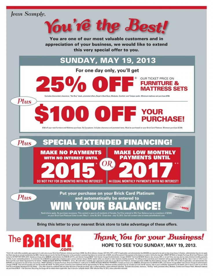 This Sunday check out The Brick special offer: Get 25% off the ticket price on Furniture & Mattress Sets. Plus $100 off your purchase and much more!
