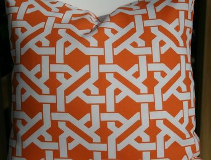 Geometric cushion cover, Orange and White, Bright and ready for summer!