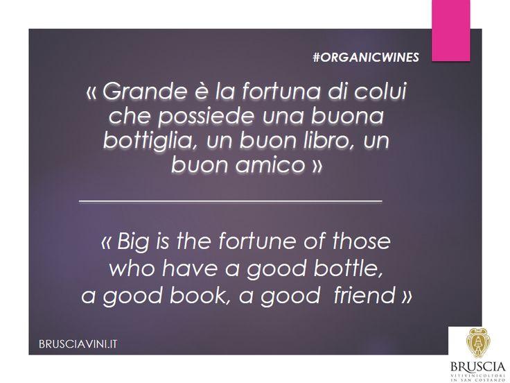 Fortuna = un buon libro, un buon amico, un buon bicchiere di #vino  #organicwines #wine
