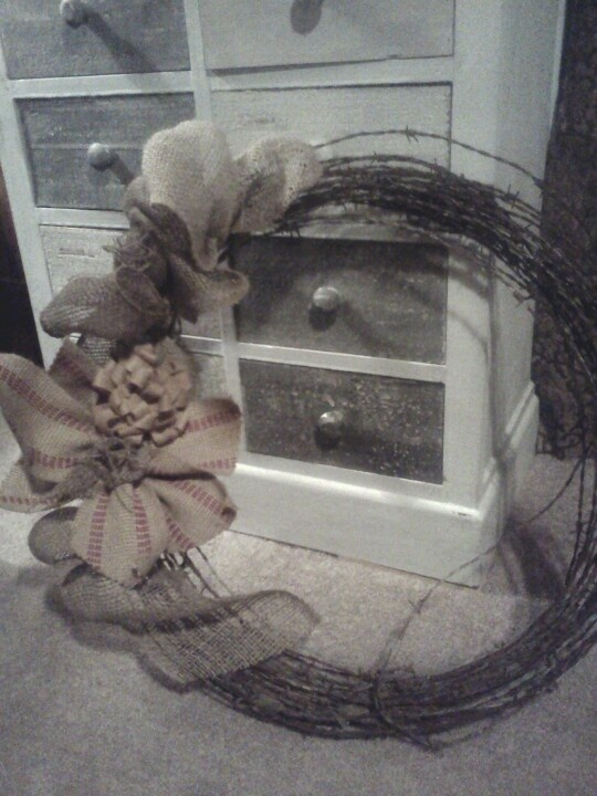 Barbed Wire and Burlap Wreath
