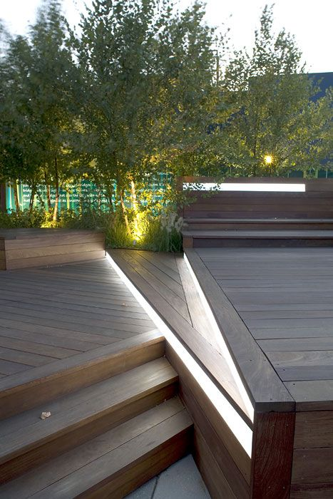 Unfolding Terrace by Terrain-NYC. Clever use of Lumilum Cool White waterproof strip lighting