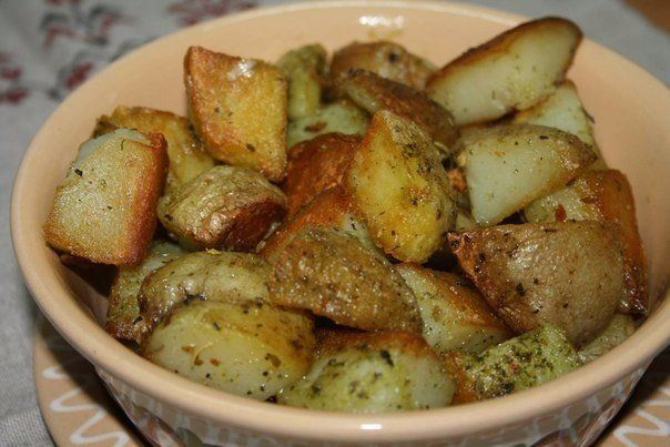 Potatoes baked in garlic butter
