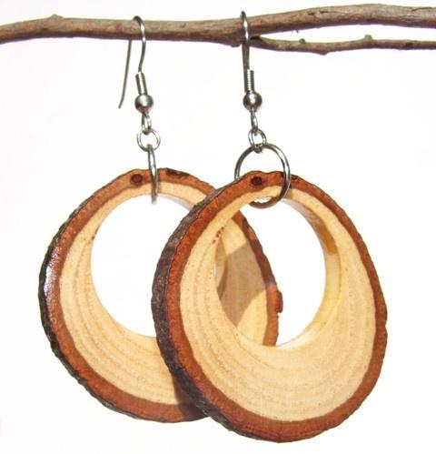 Beautiful Handmade Cedar Tree Branch Hoop Earrings 1 1 2