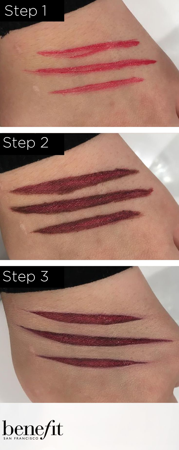 "Want to create the perfect werewolf scratches? Check out this look from the Marina Ijichi from the Bury Benefit counter ""Werewolf scratch"" - Apply a thick coat of dare me lipstick onto the area with an angled brush. Then using the same type brush line it, just inside the shape, with the quick look busy shadow and blend it inwards. This helps give it a more raw flesh colour and gives it more depth. Finally use a concealer brush and boing concealer and sharpen and tidy up around the shape. xx"
