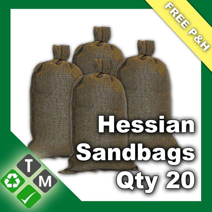 Build a Berm_ 20 x Hessian Sandbags Flood Protection Defence Empty Sand Bags 84cm x 36cm