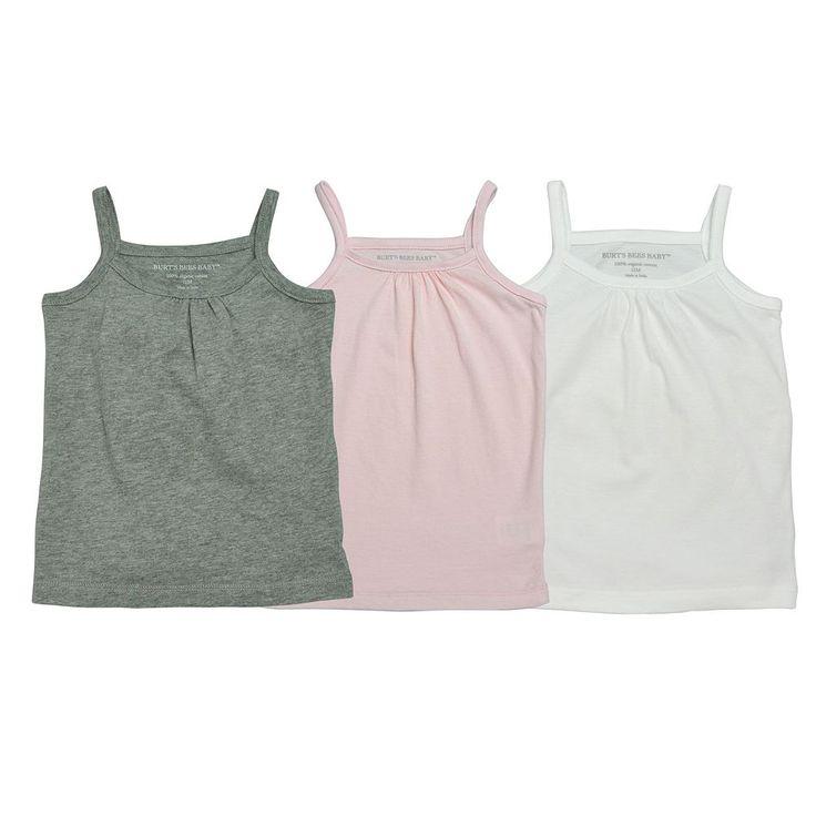Girls 2-6x Burt's Bees Baby 3-pk. Solid Organic Camisole Tank Tops, Size: 6-6X, Grey