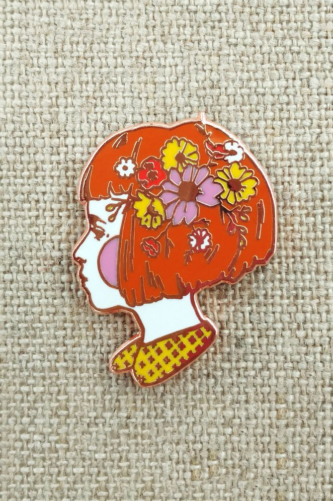 Wild Flowers in her Hair enamel pin