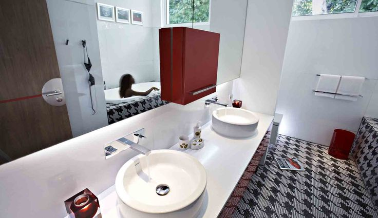 Red bathroom, Luna2 private hotel, Bali. Interior design by Melanie Hall #bathroomdesign #melaniehalldesign