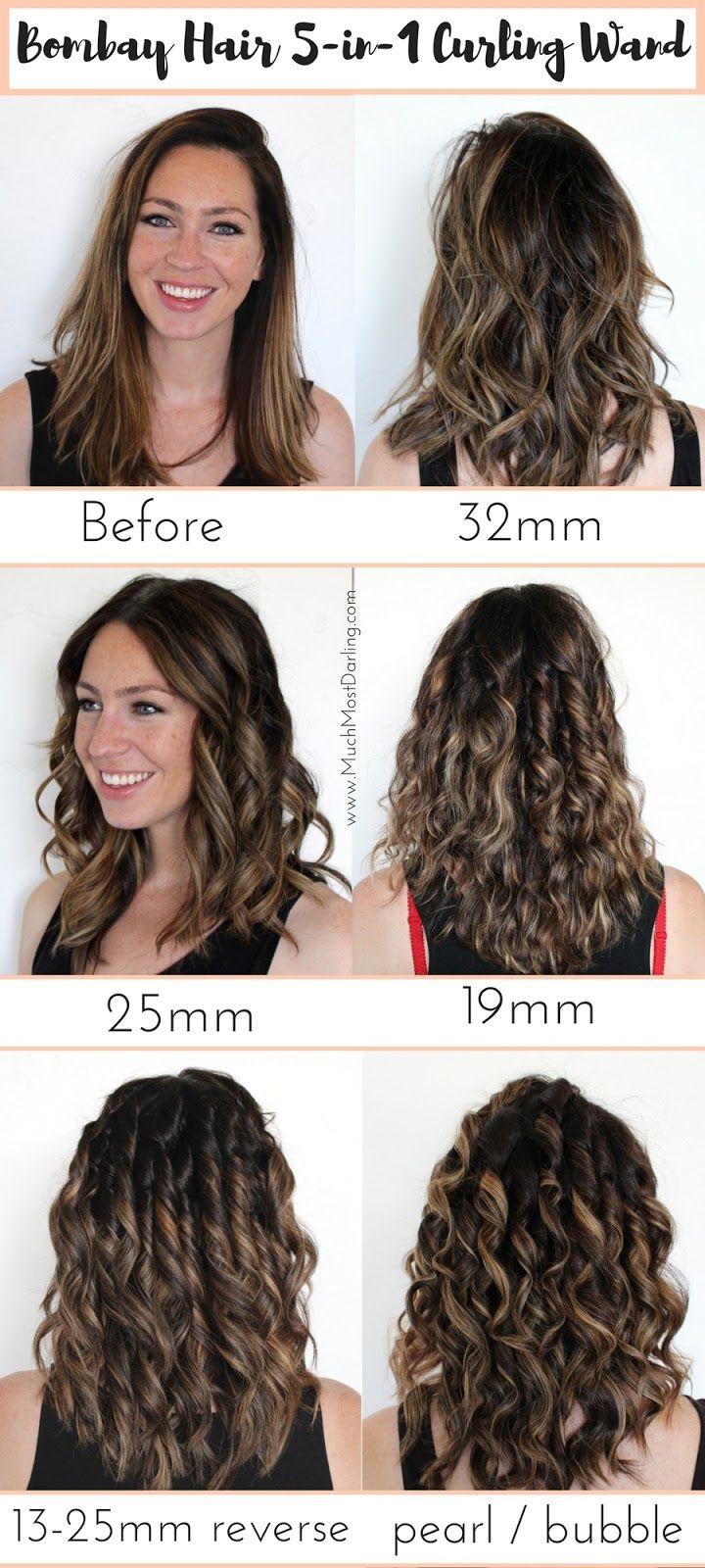 """This quick infographic and tutorial will give you a visual difference between the 5 wands included in the Bombay Hair 5-in-1 Curling Wand: the 32mm vs 25mm vs 13-25mm (reverse) vs 19mm vs Pearl / Bubble wand.  Each of the five interchangeable barrels are tourmaline infused with ceramic and emit infrared negative ions, which means frizz free curls and styles. Use code """"SHYNNZ"""" to save 50% off all hair tools from Bombay!"""