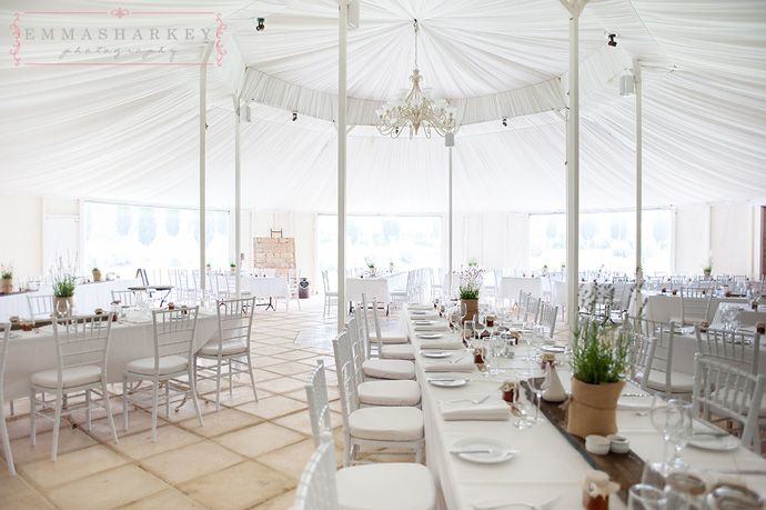 www.emmasharkey.com kingsbrook Beautiful marquee set up at Kingsbrook. These Hessian wrapped lavender plants are a fabulous table centrepiece. Nice way of introducing colour to your wedding or functions