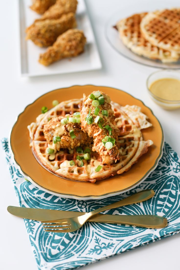 Try this fake baked fried chicken with savory waffles drizzled with a honey mustard sauce! // saltycanary.com