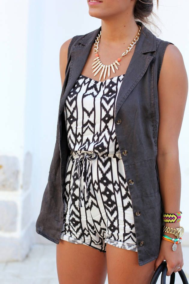 Adorable mini dress and vest: