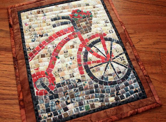 Abstract Mosaic Bicycle Fiber Art Quilted Wall Hanging