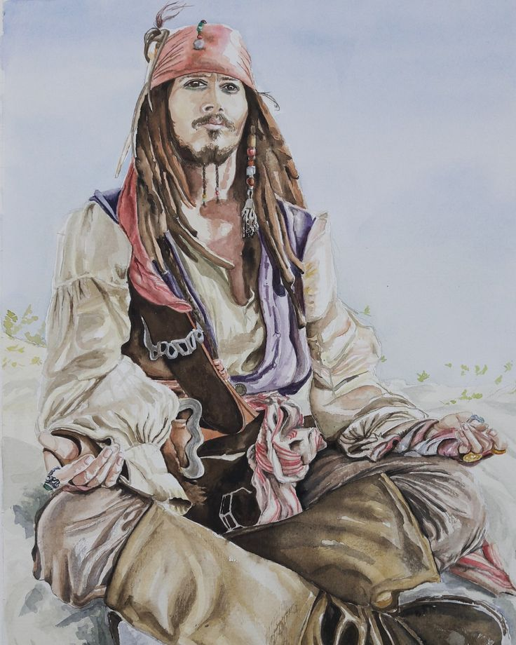 Jack Sparrow, watercolour by Jonna Sips