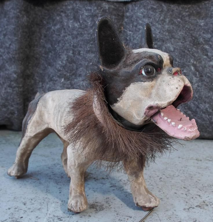 20th Century Papier Mache Growler French Bulldog Pull Toy For
