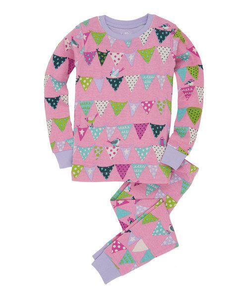 Loving this Pink & Lavender Bunting Birds Pajama Set - Toddler & Girls on #zulily! #zulilyfinds