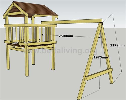 Play fort plans: The roof and swing set frame                                                                                                                                                     More