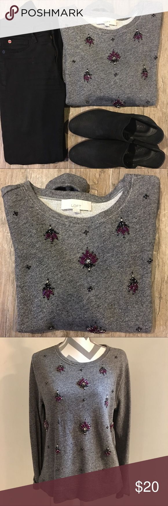 • loft • embellished sweatshirt A dark heather gray sweatshirt with black & plum beading and rhinestones. Throw on with yoga pants or jeans for a quick, easy and super cute outfit! EUC; hang dried only. 100% cotton. LOFT Tops Sweatshirts & Hoodies