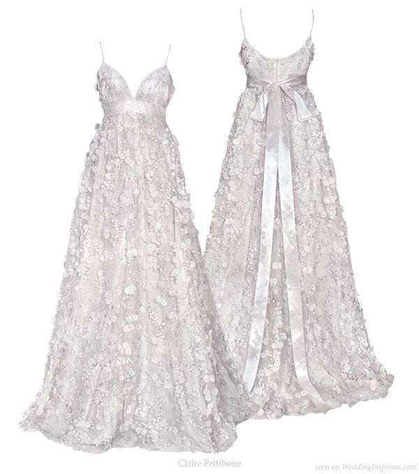Petals in the wind wedding dress from Claire Pettibone's 2010 bridal gown collection, Cherry Blossom