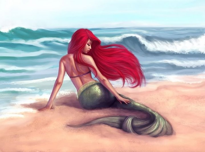 A creature of the sea? What is it with long flowy red hair and a tail of a fish?