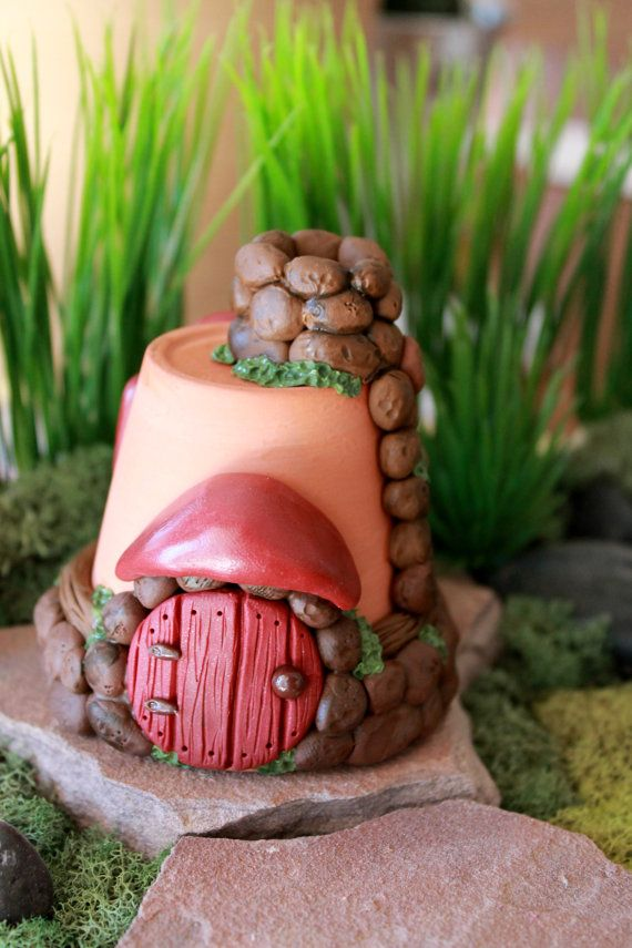 Fairy House or Gnome Home Polymer Clay Terrarium by GnomeWoods