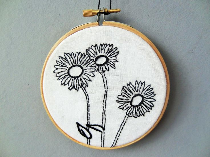 Leopard's Bane Flower embroidery hoop for sale