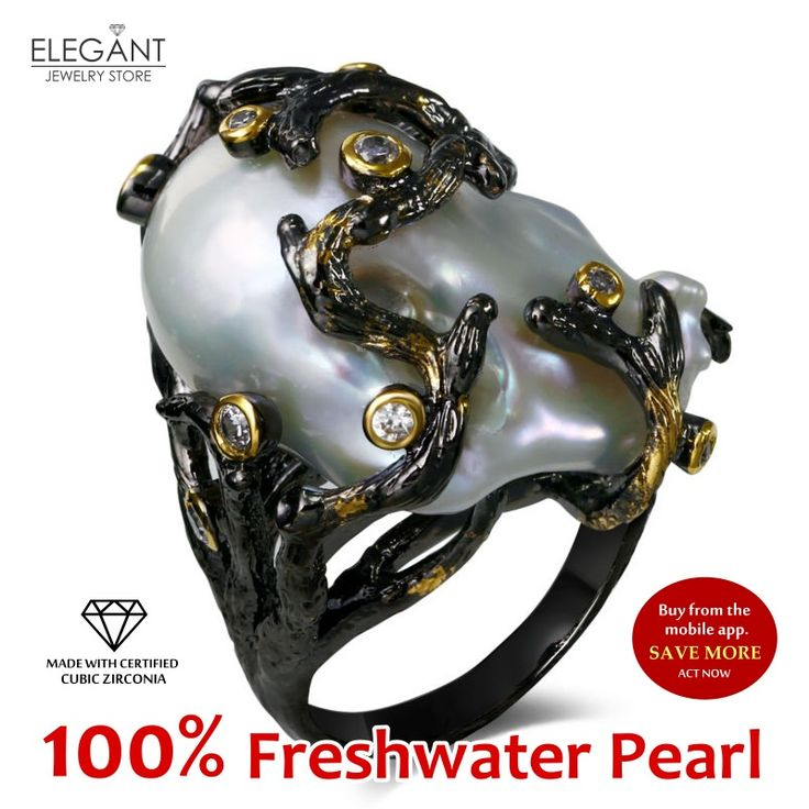 New 100% Natural Fresh Water Pearl Cocktail jewelry Black & Gold plated with High Quality Cubic Zirconia Big Unique Pearl Rings