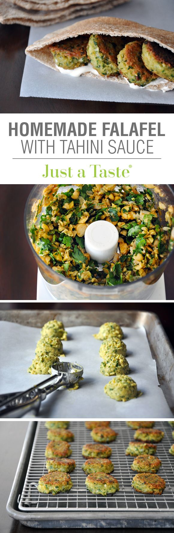Homemade Falafel with Tahini Sauce #recipe from justataste.com. For GF use gf flour & pitta