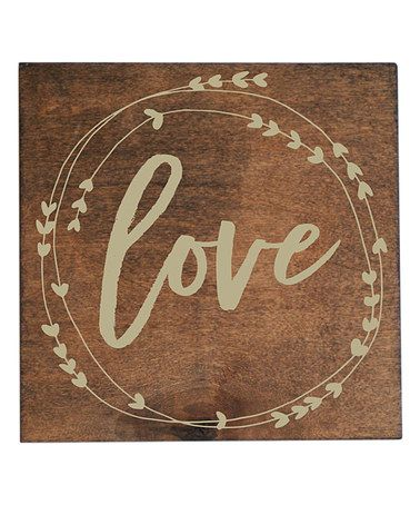 This Natural & Cream 'Love' Laurel Wreath Wall Sign is perfect! #zulilyfinds