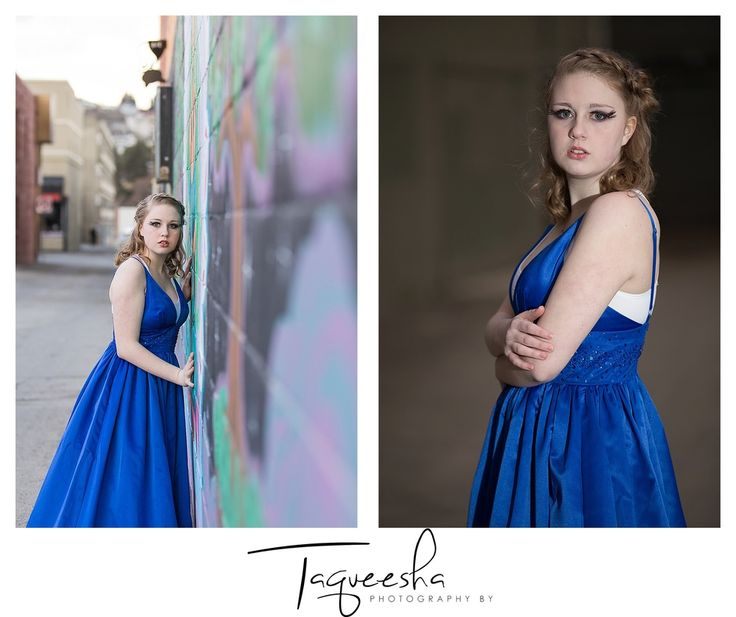 Teen photography in the back alley. Teen wearing formal gowns.
