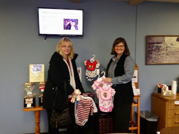 Good Samaritan Ministries Headquarters (GSM) in Beaverton Oregon 2017 Volunteer Counselor Joan and Communication & Empowerment Coordinator as well as Volunteer Counselor Rinda, are holding up some of the items donated to the program at GSM. Thank you Joan for lovingly filling a diaper bag, with all that a mother or caretaker on-the-go with a baby would need!!