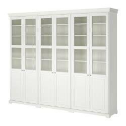"LIATORP storage combination with doors, white Depth: 14 5/8 "" Height: 84 1/4 "" Width: 113 3/8 "" Depth: 37 cm Height: 214 cm Width: 288 cm"