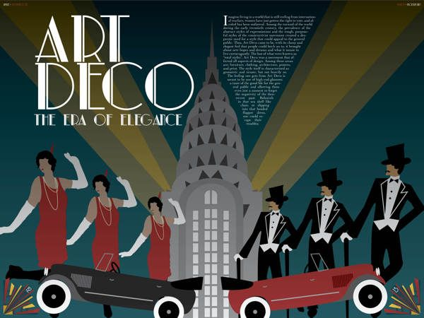 Art Deco Magazine Spread by Lauren DuBose, via Behance: Galleries, Magazines Spreads, Art Deco, Deco Magazines