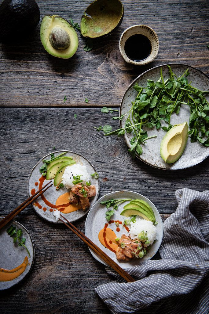 "Spicy Ahi Poke, Avocado, & Rice ""Parfaitinis"" | Two Red Bowls"