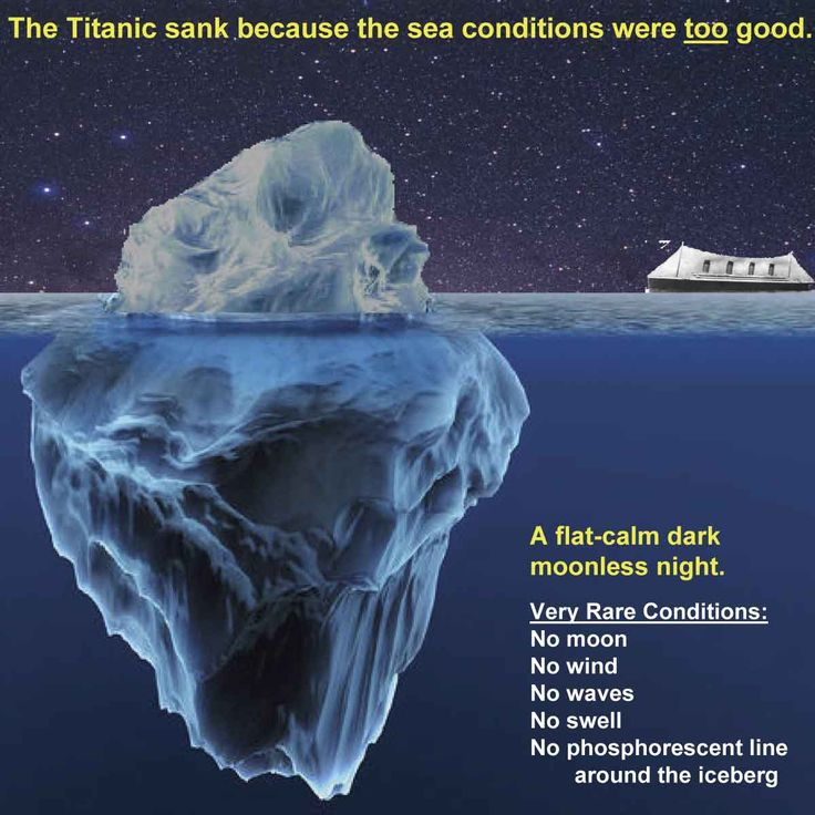 Titanic sank 100 years ago because the sea condition was too perfect.