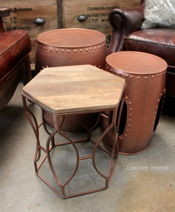 Morocco Drum Side Table / Stool - Distressed Copper - Medium