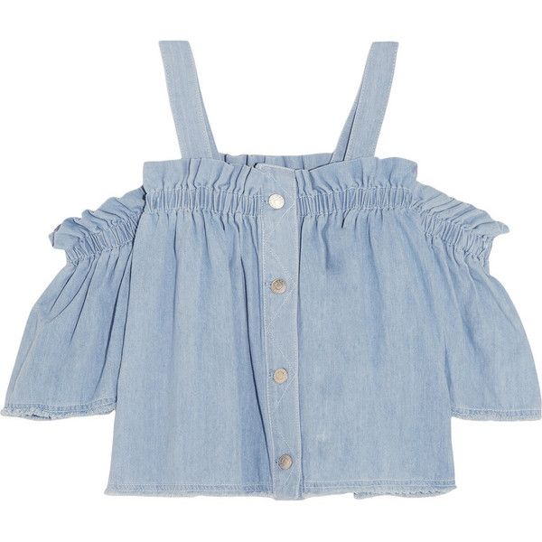 Steve J & Yoni P Convertible off-the-shoulder ruffled denim top (790 PLN) ❤ liked on Polyvore featuring tops, crop tops, shirts, blue, flounce tops, blue top, denim crop top, off shoulder tops and off shoulder ruffle top