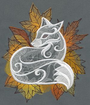 Step into fall with this lacy-looking autumn fox design, surrounded by soft painterly leaves.