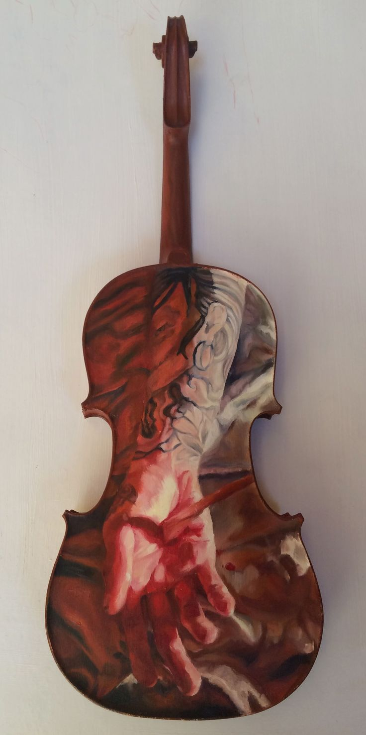 Untitled, oil on a violin, by Zoe Knighton