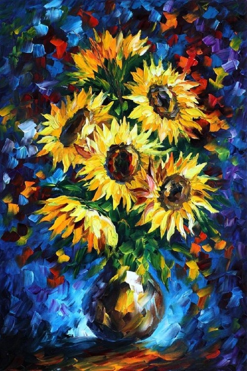 Night Sunflowers - Leonid Afremov I would love to own one of his paintings... One day!!