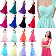 Chiffon One Shoulder Evening Formal Party Ball Gown Prom Bridesmaid Dress 2-16