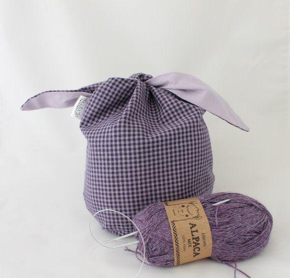 """BORSA PORTA PROGETTO taglia """"m""""- borsa furoshiki per lavoro di maglia o uncinetto--borsa porta pranzo- fantasia vichy viola e glicine"""