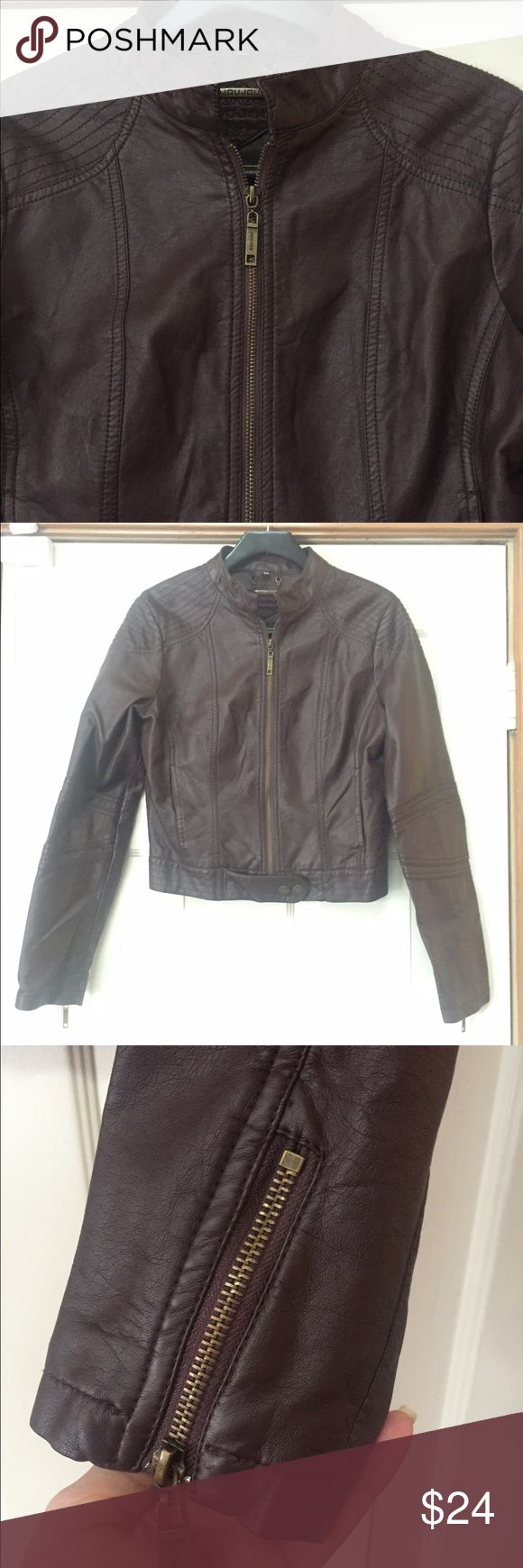 Jou Jou faux leather brown bomber jacket M EUC This is like new. Smoke and pet free home. Bundle discount 20% Jou Jou Jackets & Coats