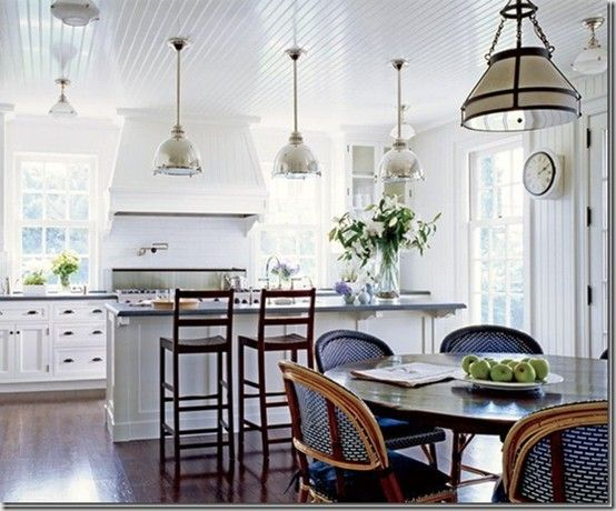 Kitchen Kitchen Kitchen!: Dreams Kitchens, Lights Fixtures, Window, Ceiling, Kitchens Ideas, Pendants Lights, Beaches Houses, White Cabinets, White Kitchens