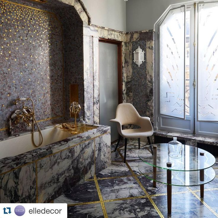 Gawking at this bath in @elledecor - designed by Michael and Daniel Bismut. Especially inspired by the mosaic feature wall.  .  Photo cred: Nicholas Tosi.  .  #inspo #designinspo #elledecor