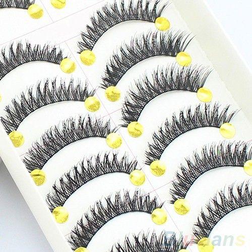10 пар ручной длинные толстые поперечные накладные ресницы макияж ресницы расширение купить на AliExpress
