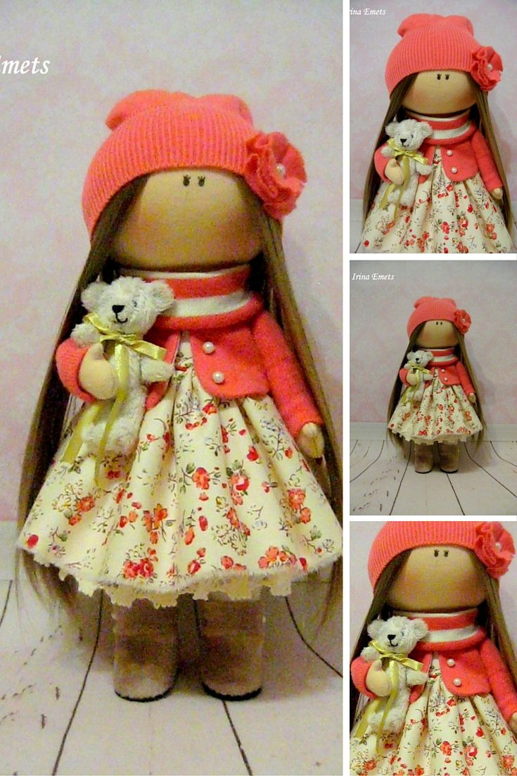 Textile doll Handmade doll Fabric doll red yellow color Soft doll Cloth doll…