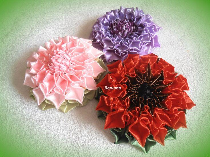 """Канзаши, как сделать красивые цветы из лент,  лепесток """"завиток"""", МК"""