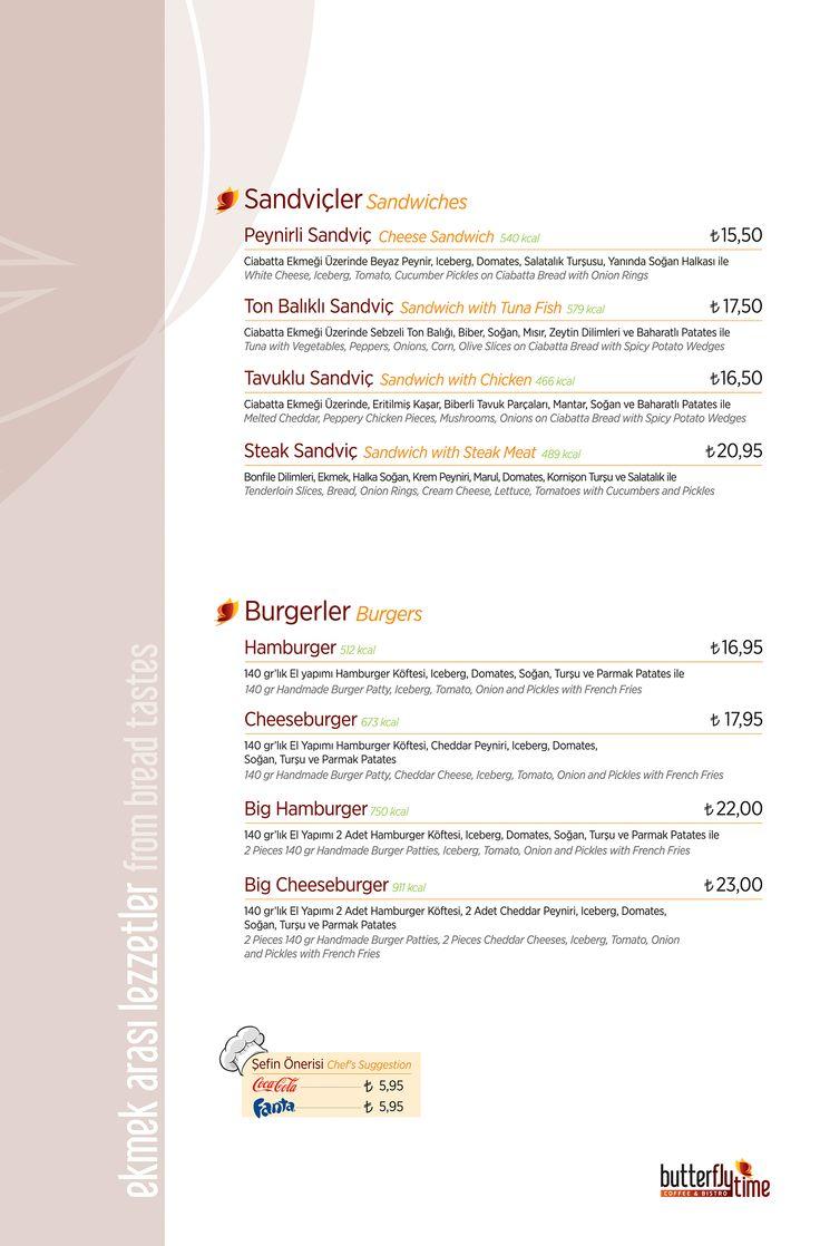 Sandviçler & Burgerler Menü