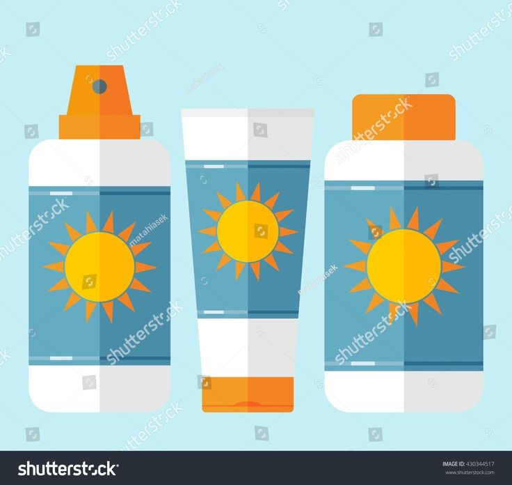 Bottles of sunscreen with sun motif. Bottles with cream after sun lotion. Flat style. Tube container of sun cream or after sunburn cream. Summer theme. Sun care cosmetics. Isolated. Blue background